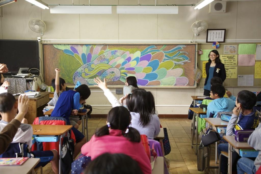 立川市の小学校での黒板ジャック