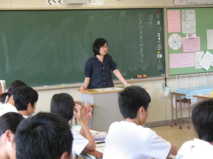 担任をしている学級での道徳の授業風景